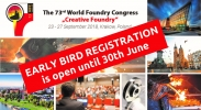 Early Bird Registration to the 73rd WFO World Foundry Congress (Poland) ends on June 30th, 2018